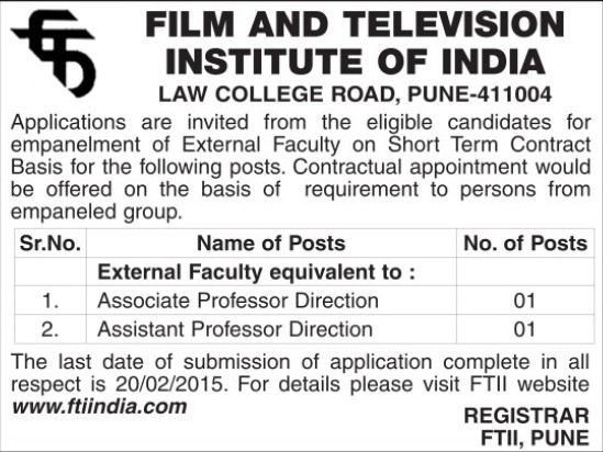 Associate Professor Direction (Film and Television Institute of India)