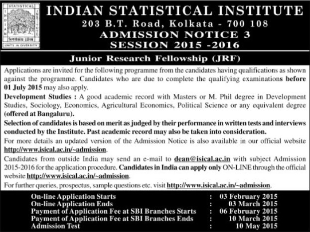 Junior Research fellow (Indian Statistical Institute)