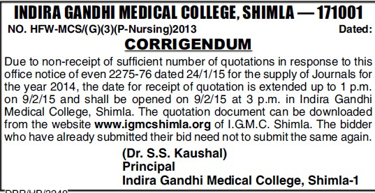 Supply of journals (Indira Gandhi Medical College (IGMC))