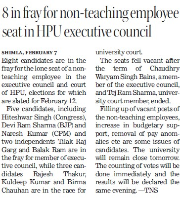 8 in fray for non teaching employee seat in HPU (Himachal Pradesh University)