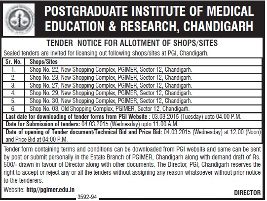 Allotment of shop (Post-Graduate Institute of Medical Education and Research (PGIMER))