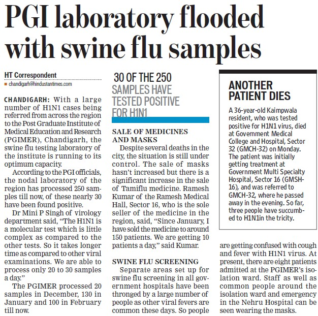 PGI laboratory flooded with swine flu samples (Post-Graduate Institute of Medical Education and Research (PGIMER))