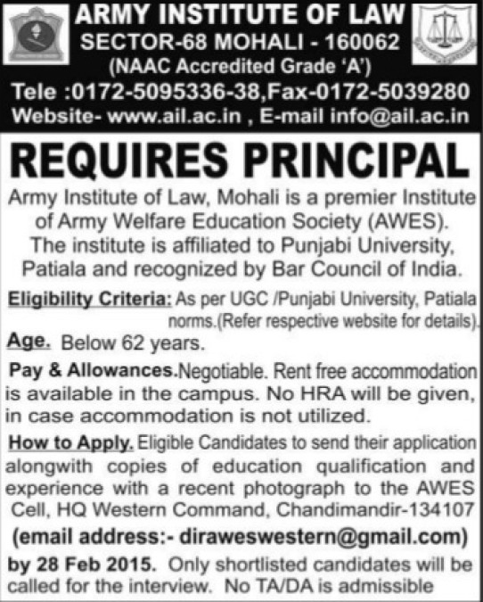Principal required (Army Institute of Law)