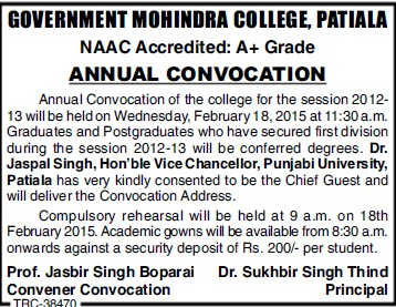 Annual Convocation Program held (Government Mohindra College)