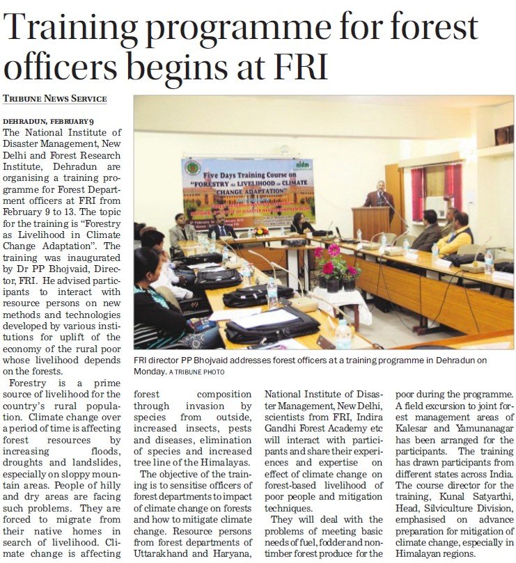 Training Programme for forest officers (National Institute of Disaster Management)