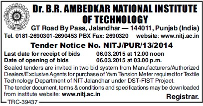 Purchase of yarn tension meter (Dr BR Ambedkar National Institute of Technology (NIT))