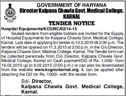 Supply of Hospital equipments (Kalpana Chawla Medical College)
