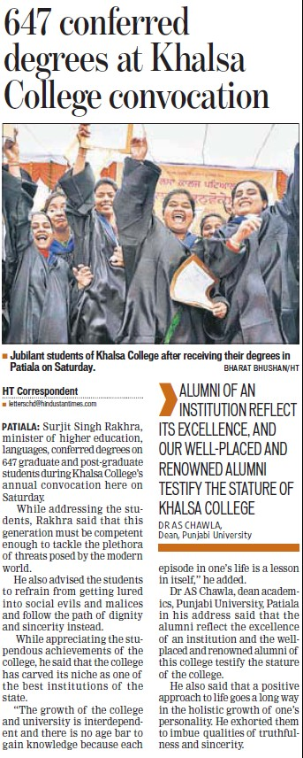 647 conferred degrees at Khalsa College (Khalsa College)