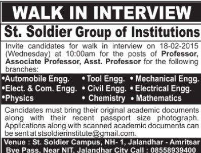 Asstt Professor in Automobile Engineering (St Soldier Group)