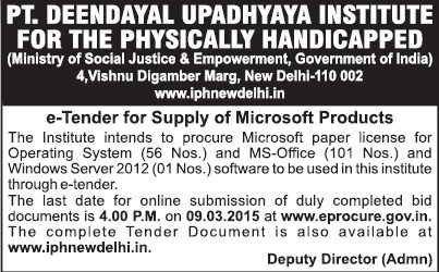 Supply of Microsoft Products (Pandit Deendayal Upadhyaya Institute for the Physically Handicapped (PDDUIPH))
