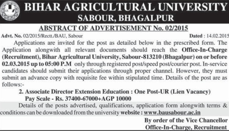 Office in charge (Bihar Agricultural University)