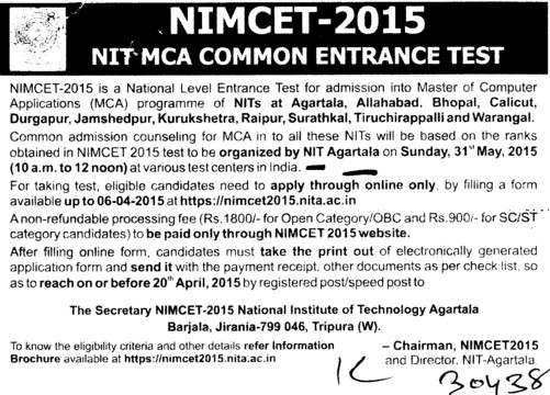 NIT MCA Common Entrance test\ (National Institute of Technology NIT)
