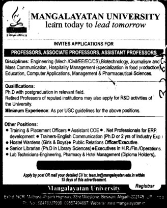 Associate Professor (Mangalayatan University)