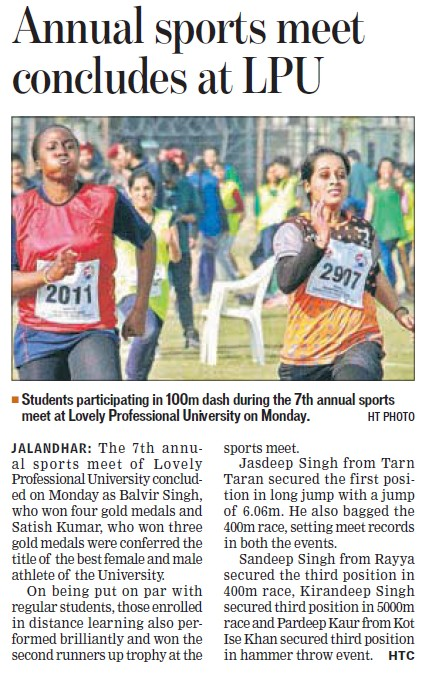 Annual Sports meet held (Lovely Professional University LPU)