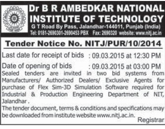 Purchase of Flex Sim 3D simulation (Dr BR Ambedkar National Institute of Technology (NIT))