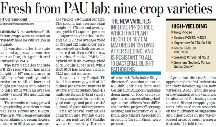 Fresh from PAU lab, nine crop varieties (Punjab Agricultural University PAU)