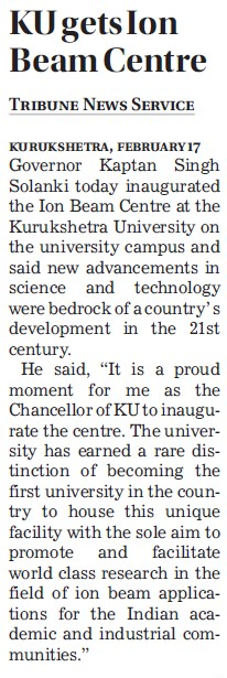 KU gets Ion beam centre (Kurukshetra University)
