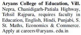 Faculty for Hindi and Punjabi (Aryans College of Education)