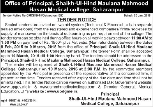 Supply of Manpowe (Shaikh Ul Hind Maulana Mahmood Hasan Medical College)