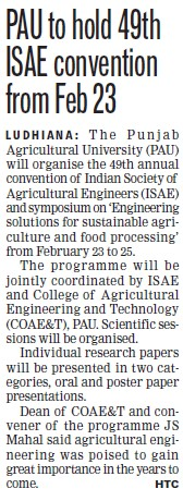 PAU to hold 49th ISAE convention from Feb 23 (Punjab Agricultural University PAU)