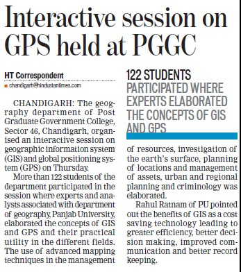 Interactive session on GPS held (Post Graduate Government College, Co-Educational (Sector 46))