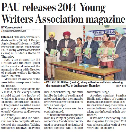PAU releases 2014 young writers association magazine (Punjab Agricultural University PAU)