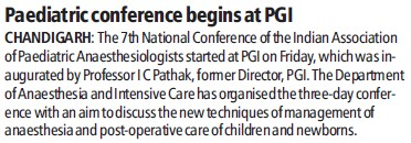 Paediatric conference begins (Post-Graduate Institute of Medical Education and Research (PGIMER))