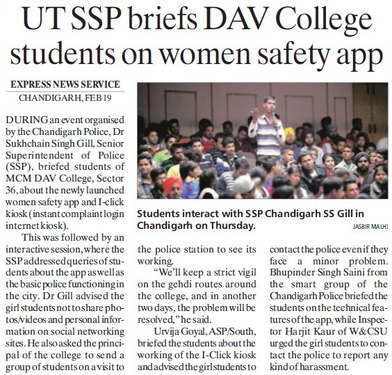 UT SSP briefs DAV College students on women safety app (MCM DAV College for Women)