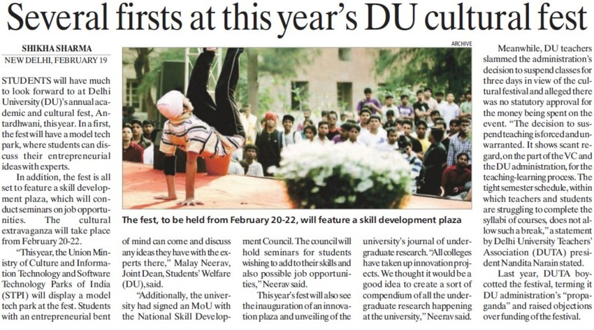 Several firsts at this years DU Cultural Fest (Delhi University)
