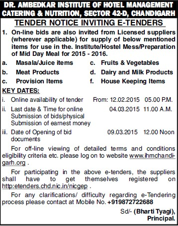 Supply of Juice items (Dr Ambedkar Institute of Hotel Management Catering and Nutrition)