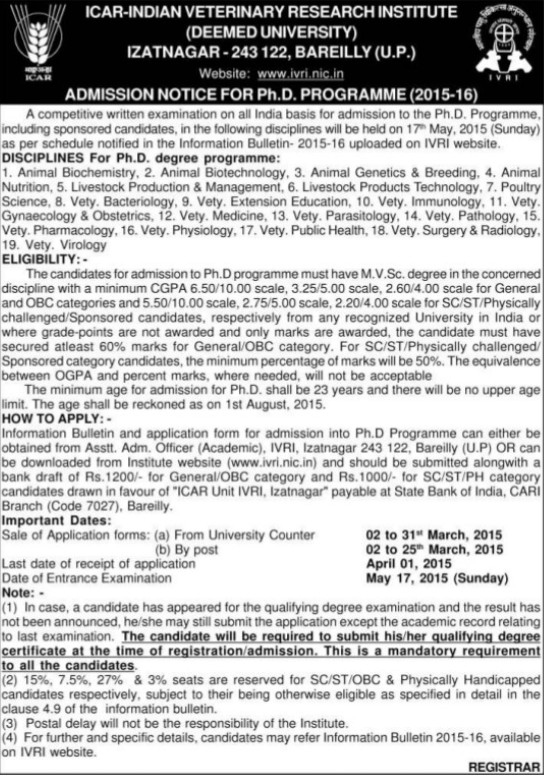 PhD Programme (Indian Veterinary Research Institute IVRI)