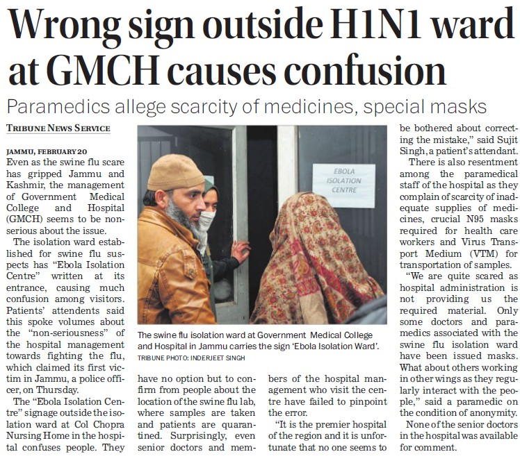 Wrong sign outside H1N1 ward at GMCH cause soncgusion (Government Medical College and Hospital (Sector 32))