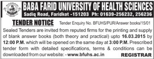 Supply of answer books (Baba Farid University of Health Sciences (BFUHS))