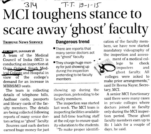 MCI toughens stance to scare away ghost faculty (Guru Gobind Singh Medical College)