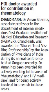 PGI doctor awarded for contribution in rheumatology (Post-Graduate Institute of Medical Education and Research (PGIMER))