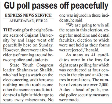 GU poll passes off peacefully (Gujarat University)