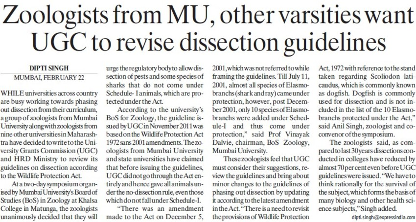 MU want UGC to revise dissection guidelines (University of Mumbai (UoM))