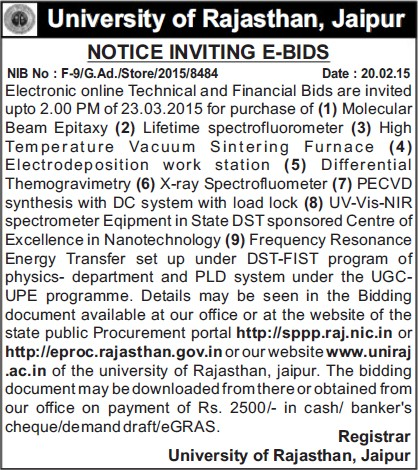 Supply of Lifetime Spectroflurometer (University of Rajasthan)