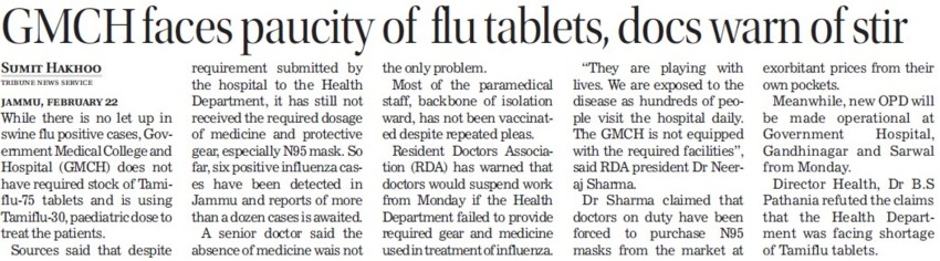 GMCH faces paucity of flu tablets (Government Medical College and Hospital (Sector 32))