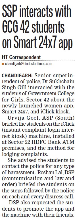 SSP interacts with GCG 42 students on smart 24x7 app (PG Government College for Girls (GCG Sector 42))