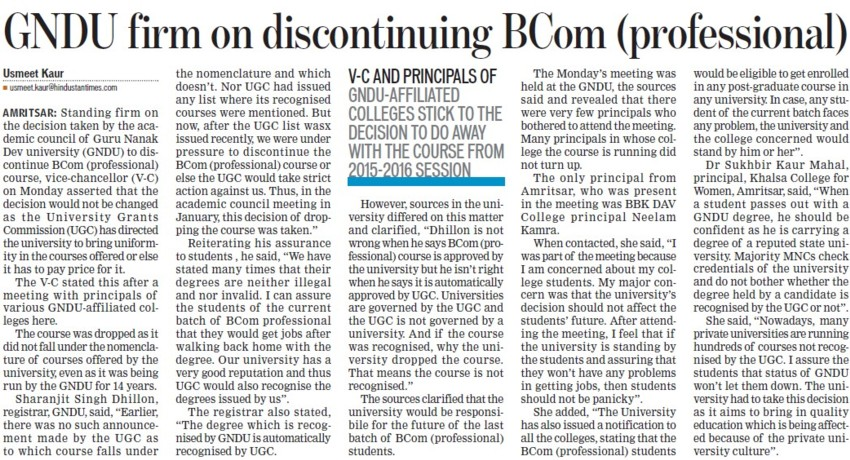 GNDU firm on discontinuing BCom Prof (Guru Nanak Dev University (GNDU))