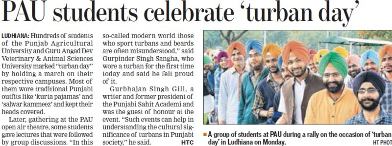 Students celebrated Turban Day (Punjab Agricultural University PAU)