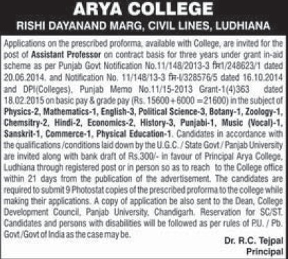Asstt Professor on contract basis (Arya College)