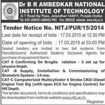 Supply of Biometric system (Dr BR Ambedkar National Institute of Technology (NIT))