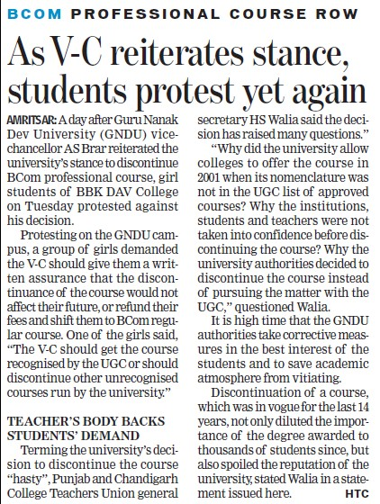 VC reiterates stance, students protest yet again (JRN Rajasthan Vidyapeeth University)