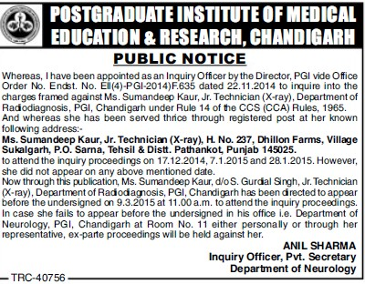 Junior Technician (Post-Graduate Institute of Medical Education and Research (PGIMER))