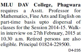 Asstt Professor for Fine Arts (Mohan Lal Uppal DAV College)