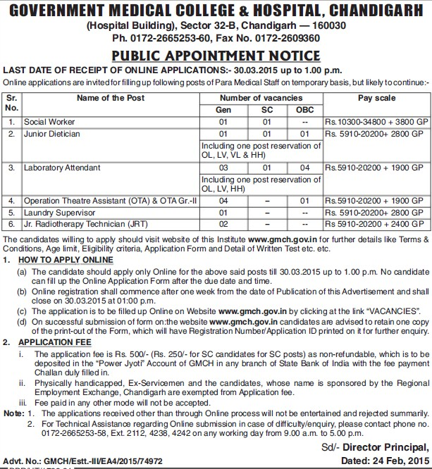 Junior Dietician (Government Medical College and Hospital (Sector 32))