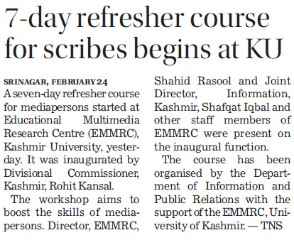 7 day refresher course for scribes begins (University of Kashmir Hazbartbal)