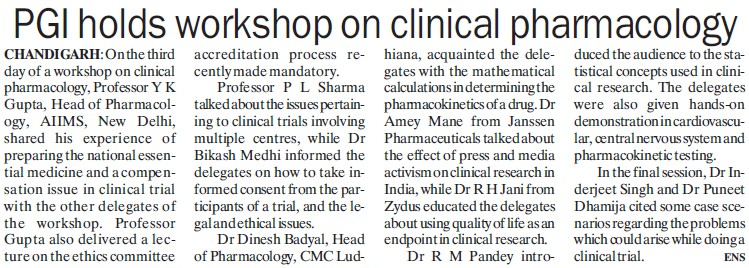 PGI holds workshop on clinical pharmacology (Post-Graduate Institute of Medical Education and Research (PGIMER))